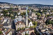 Zurich Predigerkirche church aerial view(cold tone).jpg