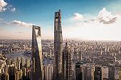 Aerial view of Shanghai skyscrapers