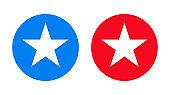 Star icon flat trendy round button set