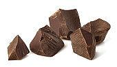 Broken dark chocolate pieces