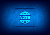 Vote badge icon abstract digital design blue background