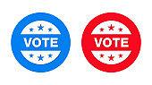 Vote badge icon flat trendy round button set