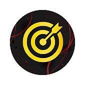 Target arrow icon elegant black round button