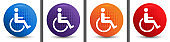 Wheelchair handicap icon abstract halftone round button set
