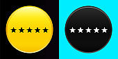 Five stars rating icon flat exclusive button set