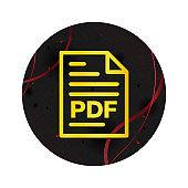 PDF document page icon elegant black round button