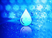 Water drop icon abstract light cyan blue hexagon pattern background