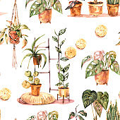 Watercolor boho home decor seamless pattern, indoor plants, urban jungle
