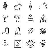 Autumn season line art icon set.