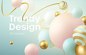 Abstract background with 3d geometric shapes. Modern cover design. Vector realistic illustration