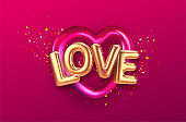 Balloons inscription Love on the background of the color gold glitter confetti and red heart balloon. Vector illustration