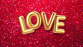 Gold Balloons Happy Valentines Day lettering on a red glitter background. Concept for Valentine day greetings. Vector illustration
