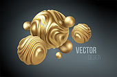 Golden metal organic shape 3d sphere background. Trend design for web pages, posters, flyers, booklets, magazine covers, presentations. Vector illustration