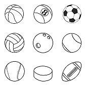 Sports balls vector set. Cartoon ball icons.