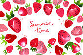 Summer time and red strawberry banner