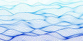 Curve line line water waves pattern. Abstract background, blue colored rhythmic waves. Vector illustration