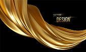 Gold 3d wave on black background. Abstract motion Modern illustration. Luxury Golden Color flow background. Abstract dynamic 3d flow effect. Vector illustration