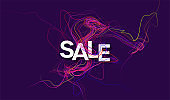 Concept Discounts Sale banner. Modern design template sale banner with color line twist on black background. Wavy lines twisted background. Vector illustration