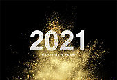 2021 inscription on the background of gold glitter confetti. Vector illustration