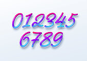 Rainbow Sale lettering numbers in 3d style. Numbers with liquid effect of a color gradient in volumetric style. Isolated numbers on a white background. Vector illustration