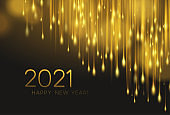 2021 realistic golden 3d inscription on the background of gold glitter confetti. Vector illustration
