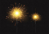 Bright shiny sparkling Bengal light fireworks isolated on black background. Vector illustration