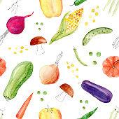 Pepper, corn, cob, aubergine, mushroom, peas, pumpkin vegetables clipart.