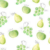 Watercolor green fruits clipart. Grapes apple and pear seamless pattern digital paper. Hand painted illustration.
