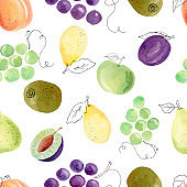 Watercolor fruit clipart. Hand painted digital paper. Grapes, pear, plum, apricot seamless pattern.