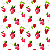 Pattern of red watercolor strawberry