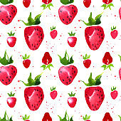 Watercolor strawberry sketch pattern
