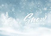 Christmas winter snowy landscape background. Winter snow dust background. Vector illustration
