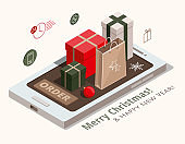 Christmas shopping concept. Gift boxes, kraft paper and red ball on mobile phone. 3d isometric illustration.
