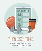 Sports equipment. Shaker, dumbbell, fitness ball and tablet. Training concept.