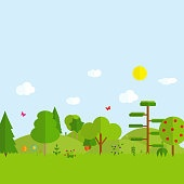 Flat cartoon style illustration nature landscape with mountains and trees. Vector Illustration