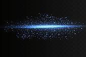 Blue horizontal lens flares pack. Laser beams, horizontal light rays.Beautiful light flares.