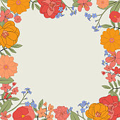 Hand drawn flower natural background. Vector Illustration