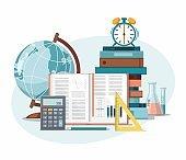 School supplies. Back to school, education background. Globe, calculator, ruler, books, school bag and alarm clock