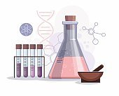 Chemical laboratory background, science laboratory research and development concept.