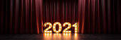 movie, cinema concept, marquee light 2021 letter sign. Director's chair and movie clapper. 3d rendering