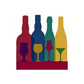 Vector Illustration of Silhouette Alcohol Bottle Background