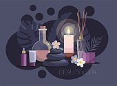 Aromatherapy, spa, beauty treatment on dark background. Bottles of natural oil, hot stones and flowers. Tropical spa resort concept.