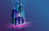 Fragment of a night panorama of a modern city. Vector.