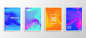 Set of four Minimal covers design. Colorful Fluid Swirl gradients.modern background template design for web. Cool gradients. Future geometric patterns.