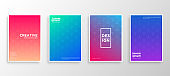 Set of four Minimal covers design. Colorful halftone gradients.modern background template design for web. Cool gradients. Future geometric patterns. Eps10 vector.
