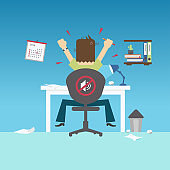 Back view of Angry man sitting on chair with hands up, Modern flat design concepts, Vector illustration.