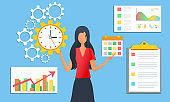 vector illustration of effective time management concept, tasks planning and organization of working process. Businesswoman doing multitasking.  Project management activities schedule checkpoints.