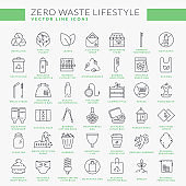 Zero waste line icons isolated on white background. Vector set.