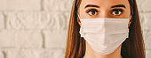 Female doctor surgeon in medical protective face mask