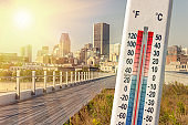 Thermometer in front of Montreal skyline